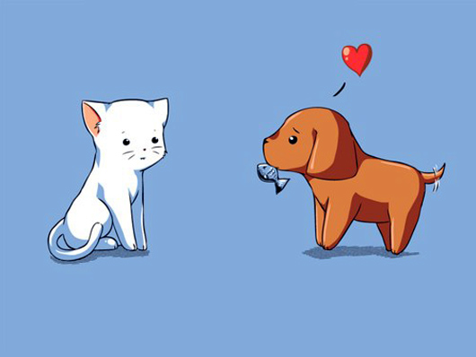 Kitty and Puppy - Lovely Digitally Drawn Picture